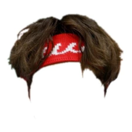 Brown hair with red headband