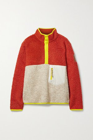 Shell And Jersey-trimmed Fleece Sweatshirt - Red