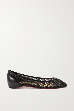 Filomena Mesh And Leather Point-toe Flats - Black