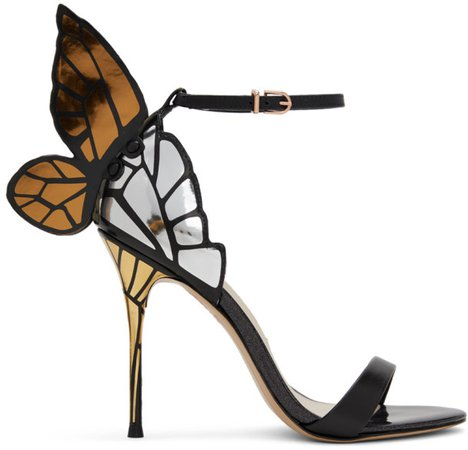 Black and Gold Chiara Heeled Sandals