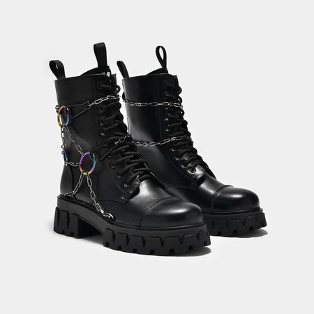 *clipped by @luci-her* Cyrus Rainbow Chain Boots   Koi