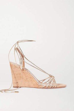 Whisper Metallic Leather Wedge Sandals - Gold