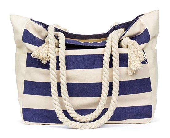 Amazon.com: MalironaBeachCanvasTravelToteBag (Blue Stripes): Clothing
