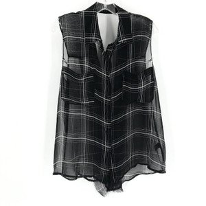 Reformation Black White Sheer Plaid Tank Button-down Top Size 8 (M) - Tradesy