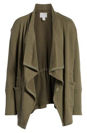 Caslon® Asymmetrical Drape Collar Terry Jacket (Regular & Petite)   Nordstrom