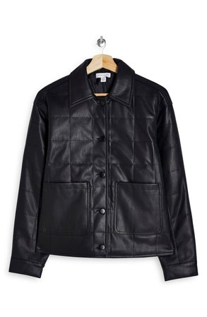 Topshop Boxy Quilt Faux Leather Jacket   Nordstrom
