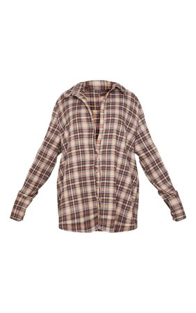 *clipped by @luci-her* Brown Oversized Check Shirt | Tops | PrettyLittleThing USA