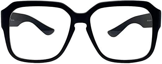 Amazon.com: Big Square Horn Rim Eyeglasses Nerd Spectacles Clear Lens Classic Geek Glasses (LEOPARD 53721, Clear): Clothing