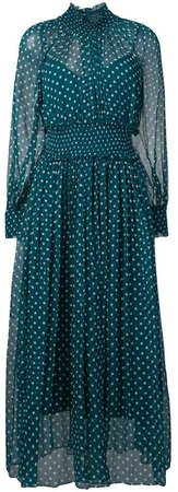 polka-dot flared midi dress