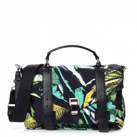 PROENZA SCHOULER Nylon Tropical Printed Medium PS1 Satchel Black 252373