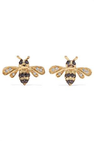 Sydney Evan | Mini Bee 14-karat gold, diamond and sapphire earrings | NET-A-PORTER.COM