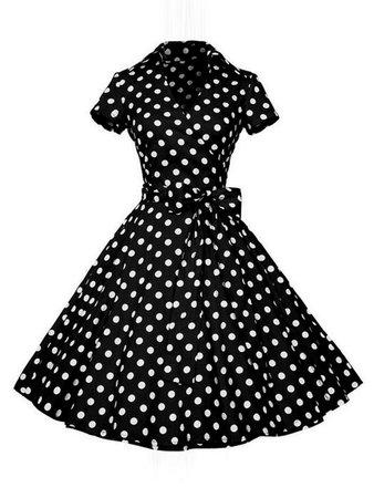 Surplice Neckline Bow Tie Polka Dot Circle Dress