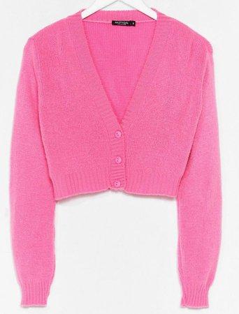 pink cropped cardigan nastygal