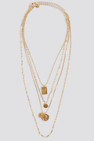 Mixed Pendant Necklace Gold | na-kd.com