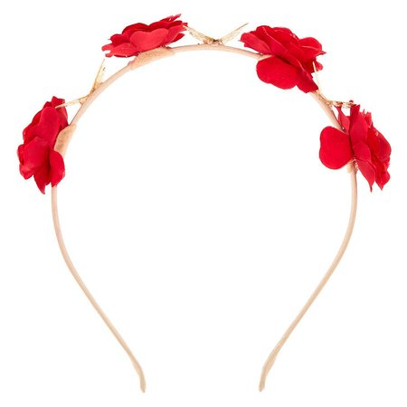 Floral Butterfly Headband - Red