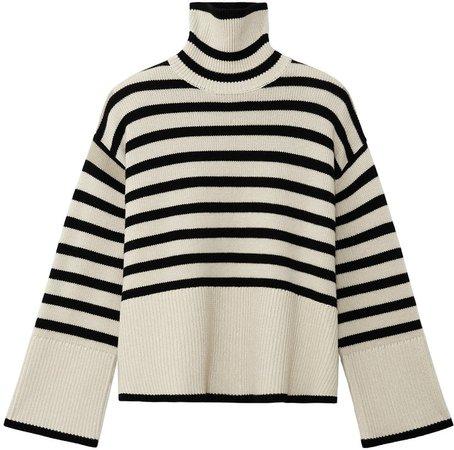 Stripe Wool Blend Turtleneck Sweater