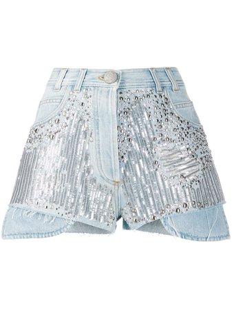 Balmain Embellished Detail Denim Shorts - Farfetch