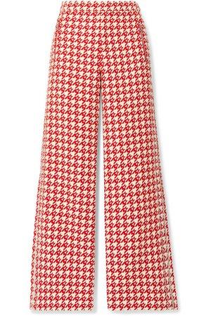 AREA | Crystal-embellished houndstooth wool-blend wide-leg pants | NET-A-PORTER.COM