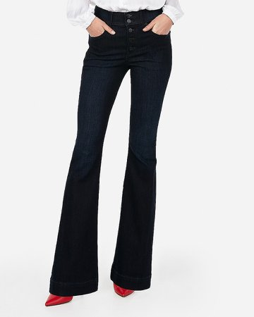 High Waisted Button Fly Bell Flare Jeans