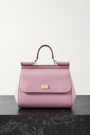 Sicily Medium Textured-leather Tote - Baby pink