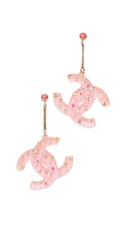 What Goes Around Comes Around Chanel Pink Acrylic Earrings | SHOPBOP