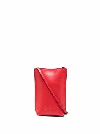 GANNI embossed-logo crossbody bag - FARFETCH