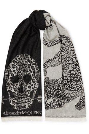 Alexander McQueen | Fringed wool-jacquard scarf | NET-A-PORTER.COM