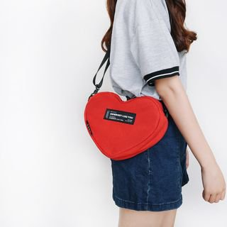 SHIME Heart-Shaped Canvas Crossbody Bag | YesStyle