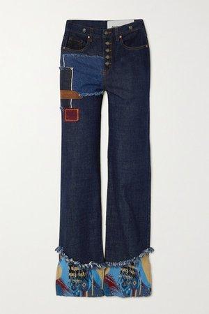 Max Appliqued Patchwork High-rise Wide-leg Jeans - Blue