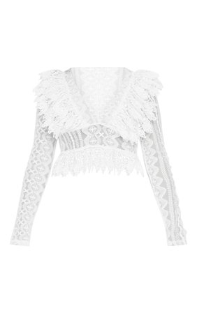 Petite White Peplum Lace Frill Deep V Neck Blouse | PrettyLittleThing