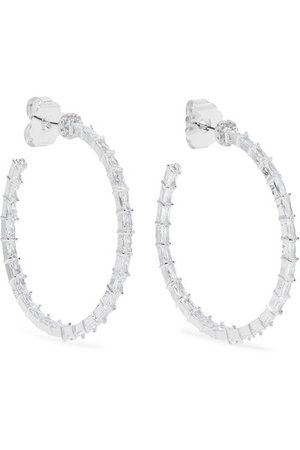 Kenneth Jay Lane | Silver-tone cubic zirconia hoop earrings | NET-A-PORTER.COM