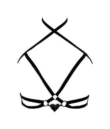 Black satin elastic frame harness bra with silver metal heart