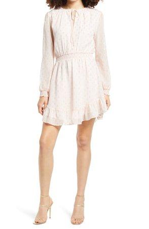 WAYF x BFF Laura Smocked Waist Long Sleeve Minidress | Nordstrom