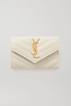 Off-white Quilted textured-leather wallet | SAINT LAURENT | NET-A-PORTER
