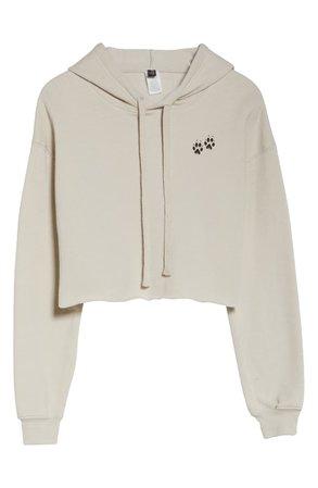Onzie Cropped Hooded Sweatshirt tan