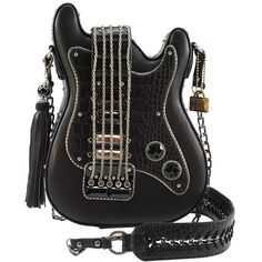 Turn It Up Embellished Guitar Crossbody Handbag