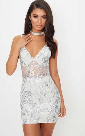 Silver Sheer Strappy Panel Sequin Bodycon Dress   PrettyLittleThing