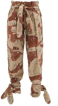 X The Attico Camouflage Paperbag Waist Trousers - Womens - Beige Multi