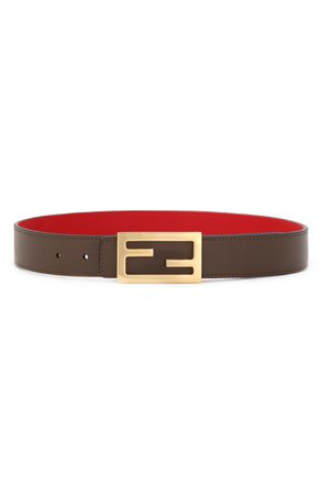 Fendi Logo Buckle Reversible Calfskin Leather Belt | Nordstrom