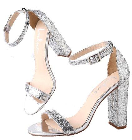 Lulus Taylor Glitter Ankle Strap Heels