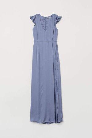Long V-neck Dress - Blue