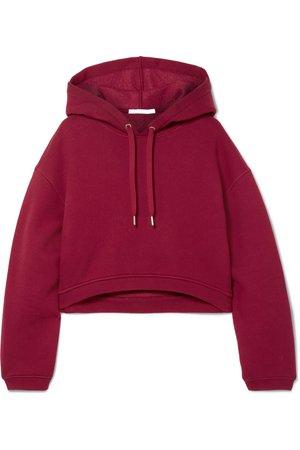 alexanderwang.t | Dence cropped cotton-blend hoodie | NET-A-PORTER.COM