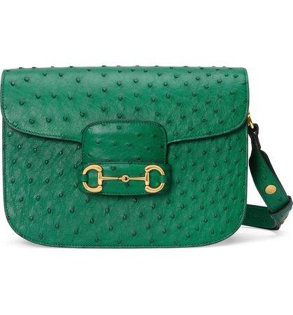 Gucci 1955 Horsebit Ostrich Shoulder Bag | Nordstrom