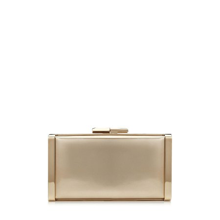 Gold Liquid Mirror Leather Clutch Bag| J BOX| Pre Fall 19 | JIMMY CHOO