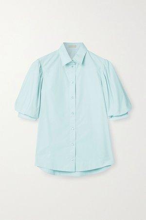 Sky blue Cotton-poplin blouse   Alaïa   NET-A-PORTER