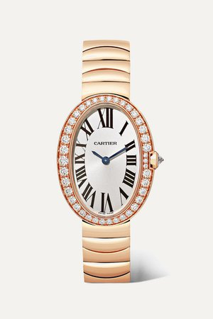 Cartier | Baignoire 24.5mm small 18-karat pink gold and diamond watch | NET-A-PORTER.COM