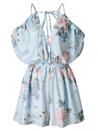 2018 Spaghetti Strap Ruffle Floral Romper BLUE L In Jumpsuits & Rompers Online Store. Best White Lace Romper For Sale   DressLily.com