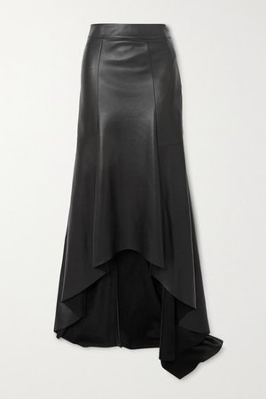 Asymmetric Leather Skirt - Black