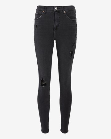 High Waisted 4-way Hyper Stretch Black Ripped Skinny Jeans | Express