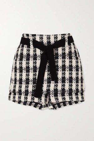 Belted Houndstooth Cotton-blend Tweed Shorts - Black